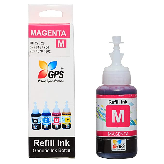 GPS Universal Cartridge Refill Ink for HP 21/21b/27/56/802/678/15d/45a/Canon PG- 810/830/740/745-100ml (GPS- MAGANTA 100ML -1PCS) Inks, Toners & Cartridges at amazon