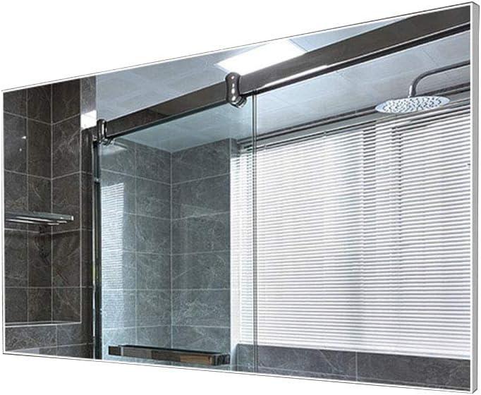 Espejo de baño con Marco de Aluminio para Colgar en la Pared del baño, a Prueba de explosiones, Color Negro, Plateado: Amazon.es: Hogar
