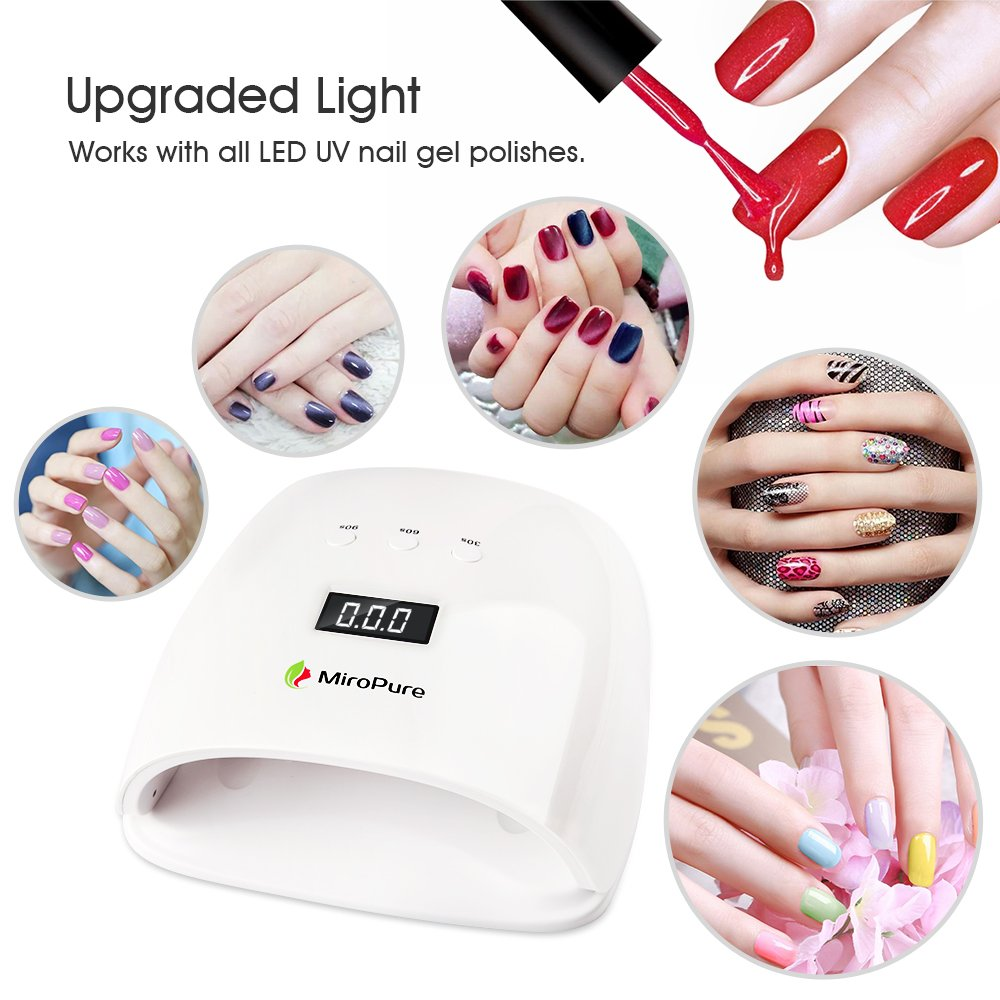 Amazon.com : MiroPure 48W Nail Dryer LED UV Lamp Super Quick Curing ...