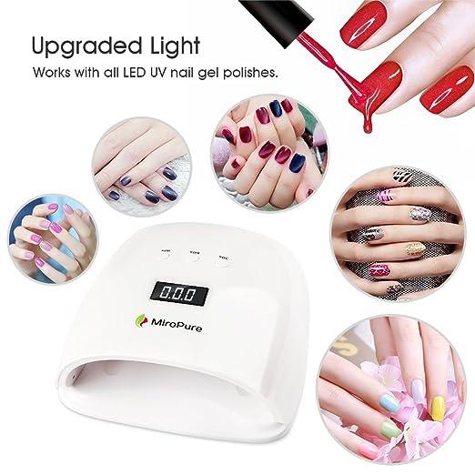 48 W lámpara de uñas led UV miropure secador de uñas con LCD Display salón de manicura herramienta rápido curado para manicura de gel (con sensor de ...