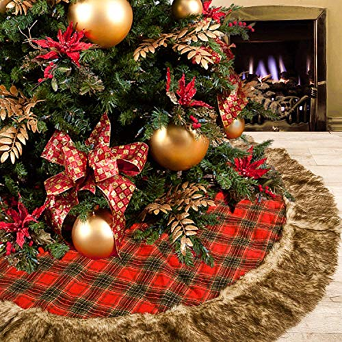 (DOYOLLA 48inch Buffalo Plaid Christmas Tree Skirt with Gorgeous Dark Grey Faux Fur Trim Border for Christmas Holiday Decorations)