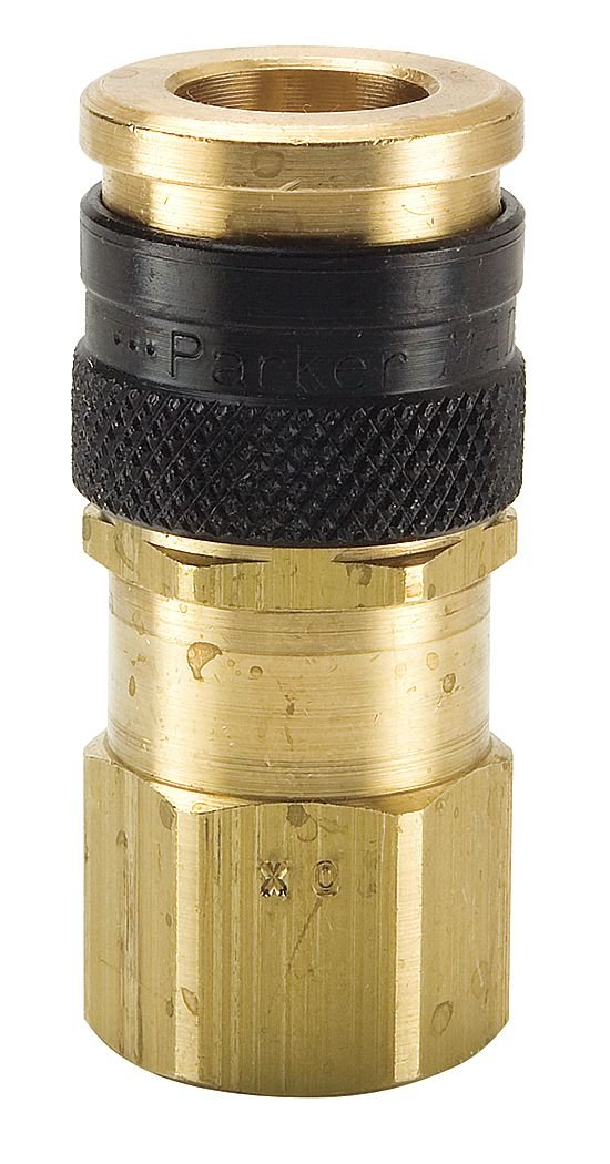 Parker Hannifin HF-251-4FP Series HF Brass General Purpose High Flow Pneumatic Quick Coupler with Female Pipe Thread 2.19 Length Push-to-Connect Sleeve 1//4 Body Size 1//4-18 NPSF Thread
