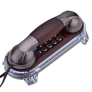 VBESTLIFE Antique Retro Telephone Corded Landline Telephones Wall Mounted VintageTelephone with Bottom Blue Backlight for Home Hotel(Red Copper)