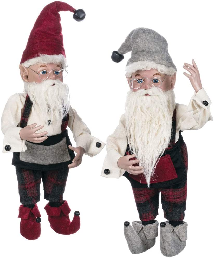 Sullivans Christmas Elf Figurines, Grey and Red Plaid Elves, 19 Tall, Red and Grey, Set of 2 PN2560