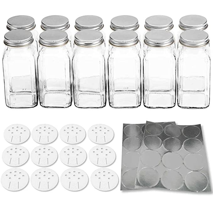 amazoncom 12 deluxe large square glass spice bottles 6 oz spice jars with silver metal lids shaker tops and labels by spiceluxe kitchen dining