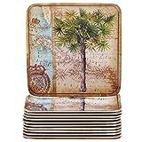 Certified International Corp Antique Palms Melamine Canape Plates (Set of 12), 6'', Multicolor