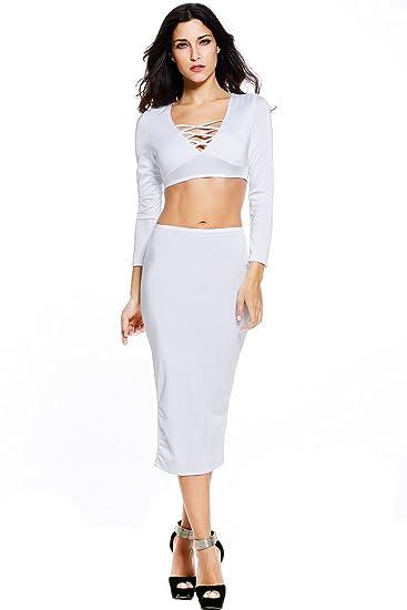 Nueva mujer 2 piezas color blanco Crop Top Midi falda conjunto ...