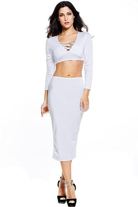Nueva mujer 2 piezas color blanco Crop Top Midi falda conjunto vestido vestido de fiesta Club