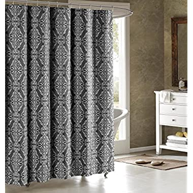Adisson Printed Cotton Blend 72 in. x 72 in. Shower Curtain in Charcoal