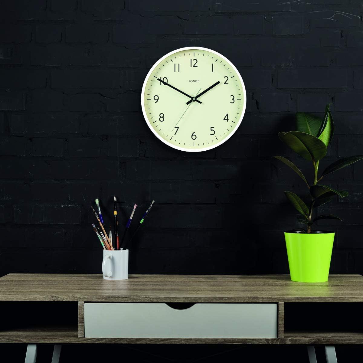 Turquoise JONES CLOCKS /® Monture en Couleur cr/ème et Aiguilles Noires 30 cm Horloge Murale Studio