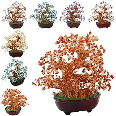 SUNYIK Tumbled Gemstone Money Tree Bonsai Lucky Fengshui Healing Decoration