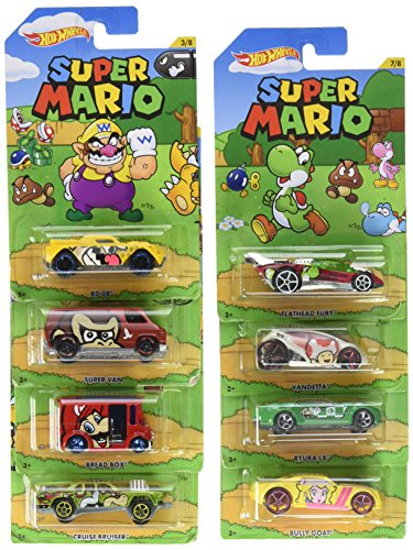 Hot Wheels Super Mario Series 8 Car Bundle 2016
