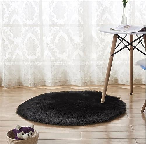 Round Faux Fur Sheepskin Rugs, Soft Shaggy Area Rug Home Decorative Bedroom Fluffy Carpet Rug, Diameter 6.6 Feet, Black