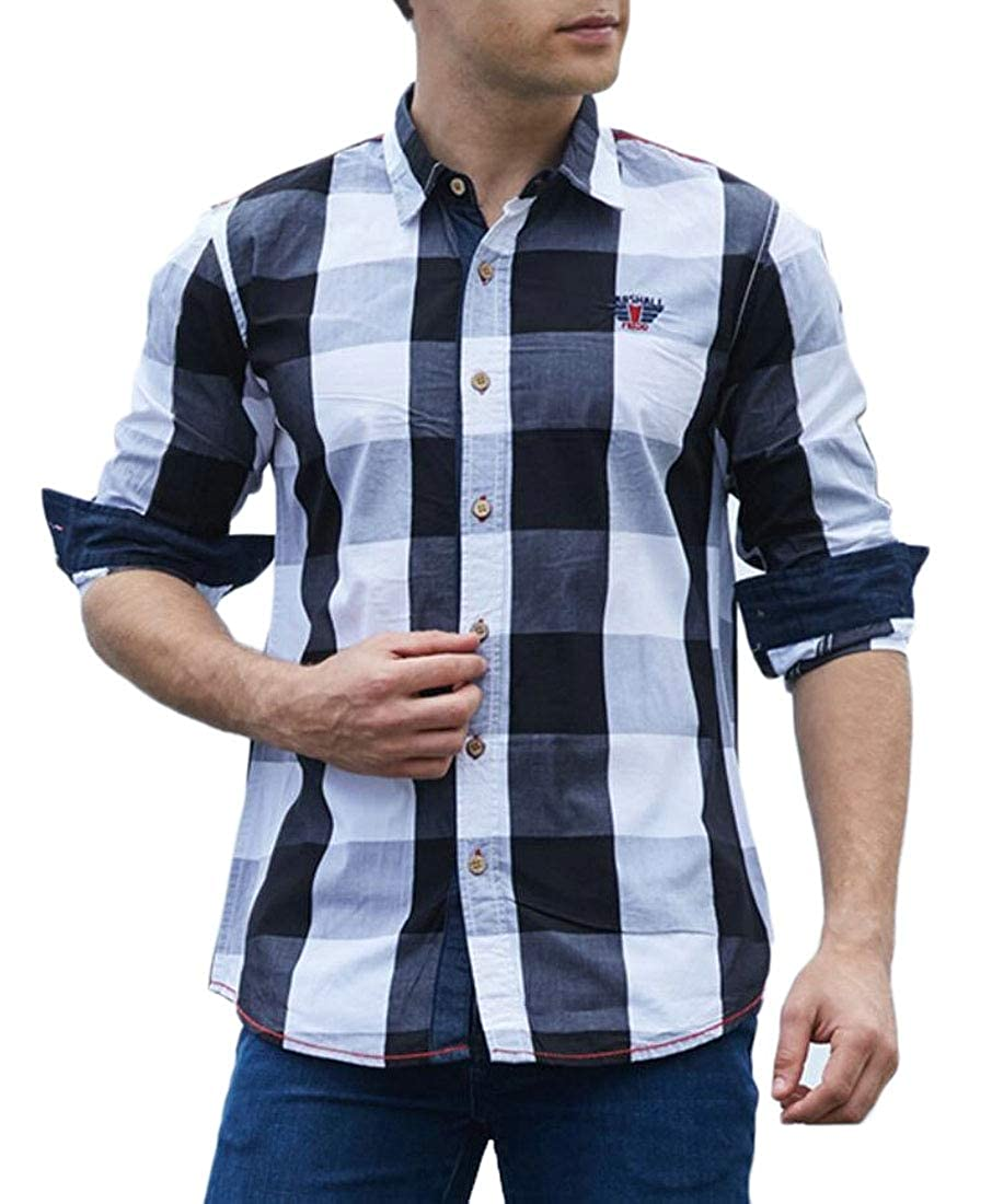 WSPLYSPJY Mens Custom Fit Plaid Long Sleeve Classic Button Front Shirts