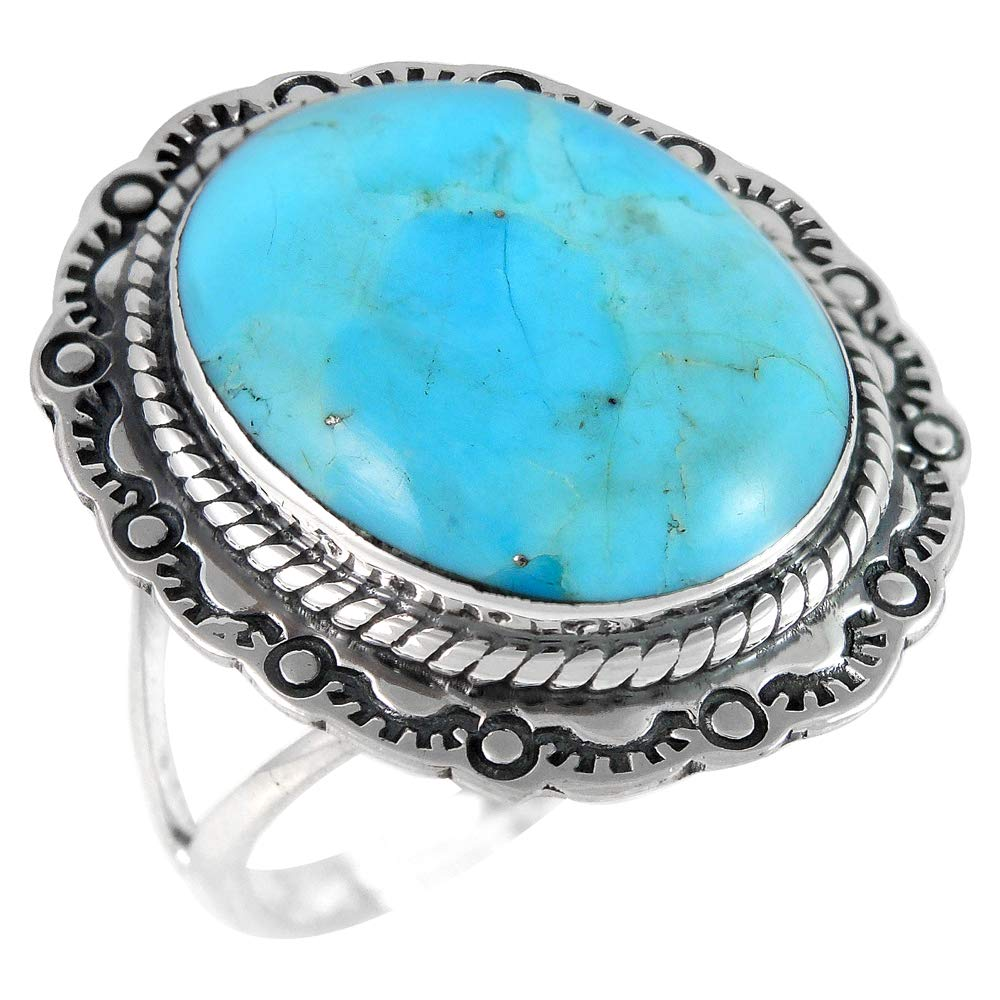 Turquoise Ring in Sterling Silver 925 Genuine Turquoise (10) by Turquoise Network
