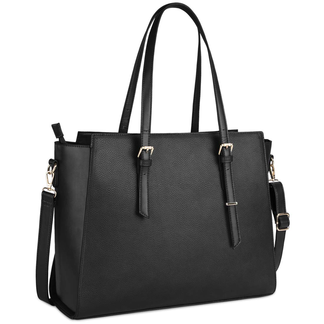 Laptop Bag for Women 15.6 Inch Waterproof Laptop Tote Bag Large Leather Computer Briefcase Womens Business Professional Office Work Bag Lightweight Shoulder Handbag,Black by NEWHEY