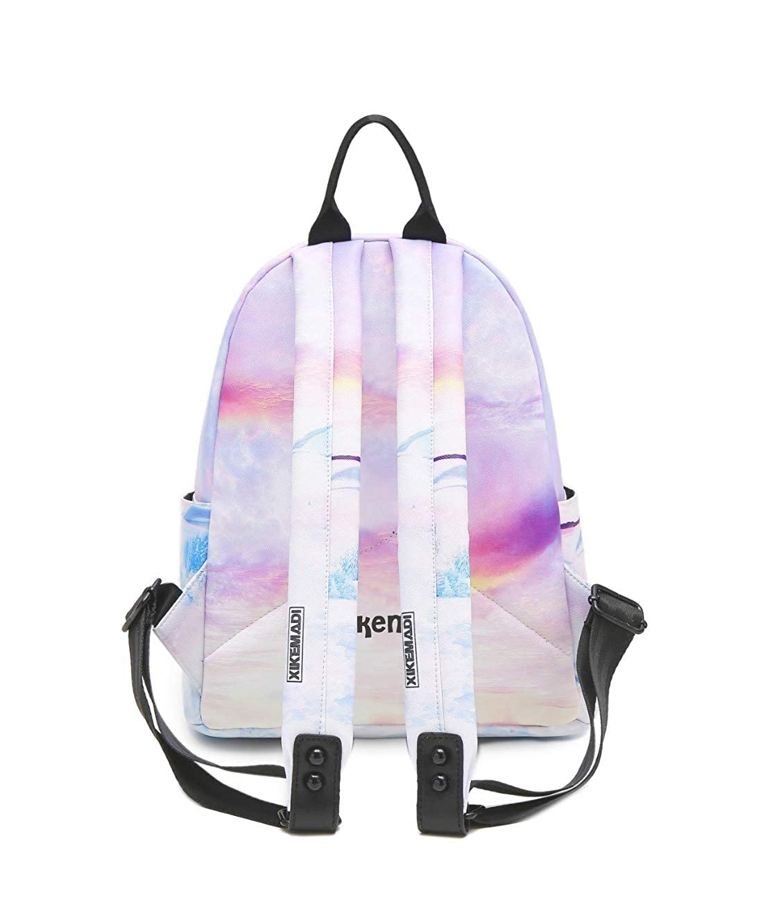 K.X.S Womens Backpack Color Block Splash Ink Letter Pattern Versatile Bag Colorful