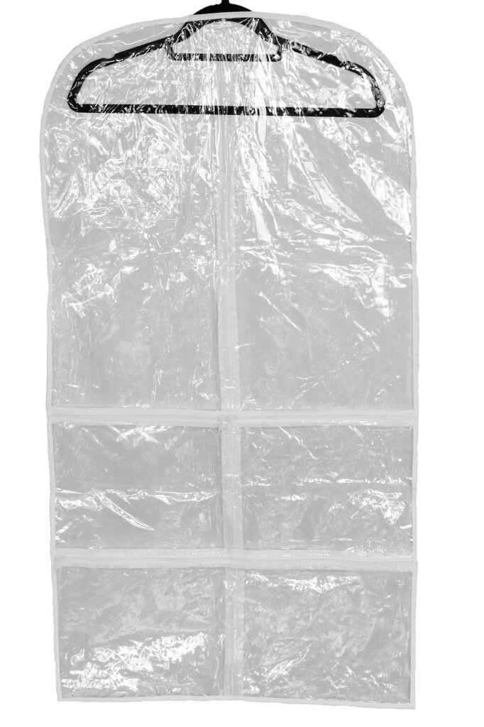 Clear plastic garment bag for dance competitions, costumes, dresses