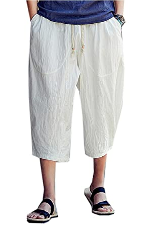 7543889390 YYG-Men Retro Cotton Linen Chinese Style Shorts Harem Capri Pants Trousers  at Amazon Men's Clothing store: