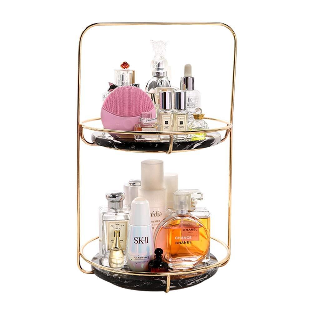 UANDM Fashion Luxury Cosmetic Storage Rack Metal Steel Cosmetics Tray Wire Basket Cosmetic Holder 2 Tier
