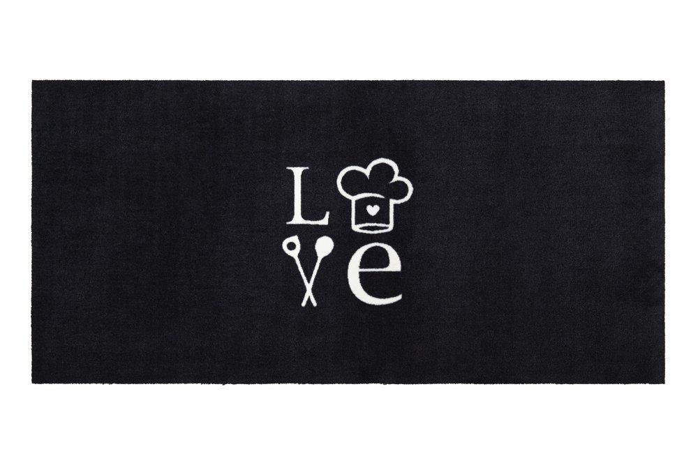 Gift Company Washables Kitchen Waschbare Küchenmatte LOVE schwarz weiß 120x60cm