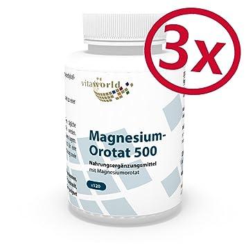 Pack de 3 Orotato de Magnesio 195mg 3 x 120 Cápsulas Vegatales - Vita World Farmacia Alemania: Amazon.es: Salud y cuidado personal