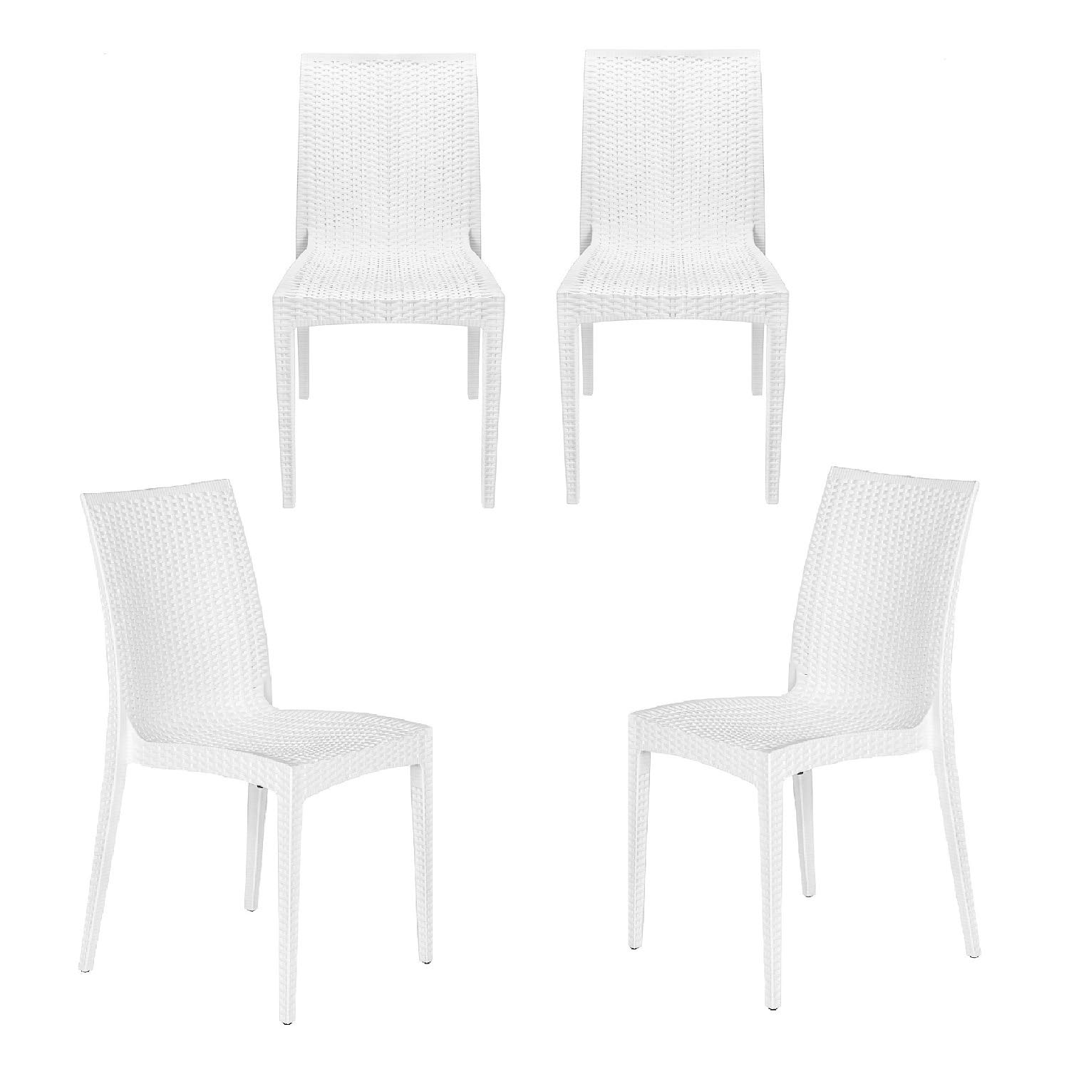Rimdoc Patio Dining Chair White Plastic Chairs of Mid Century Country Garden Wicker Rattan Style Outdoor Waterproof Chic Furniture for Dining Room Balcony Porch Backyard Poolside Bistro Cafe Set of 4