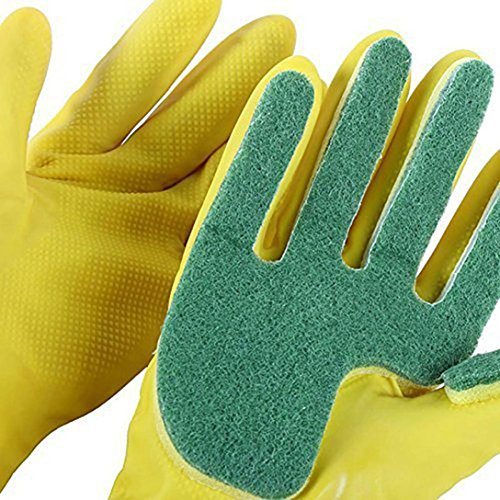 Jeeke Sponges Kitchen Gloves Dish Cleaning Tool Non-slip Design (Color A, 1 - Certificates Gift Ect