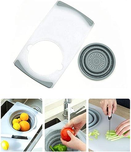Tabla de cortar multifunción plegable para platos, cesta de ...