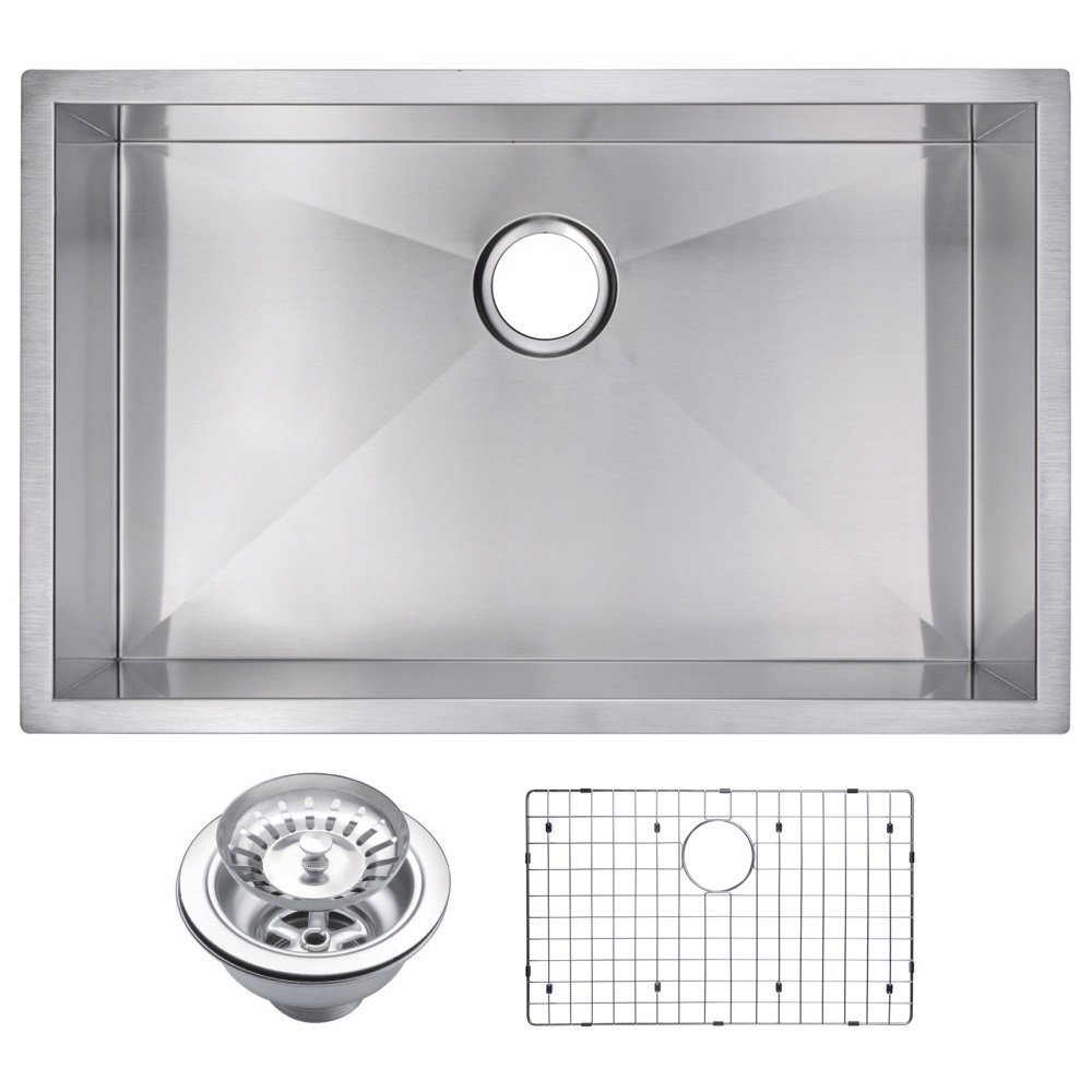 Water Creation SSSG-US-3019A 30 X 19 Zero Radius Single Bowl Stainless Steel Hand Made Undermount Kitchen Sink with Drain, Strainer, and Bottom Grid Premium Scratch Resistant Satin Stainless Steel