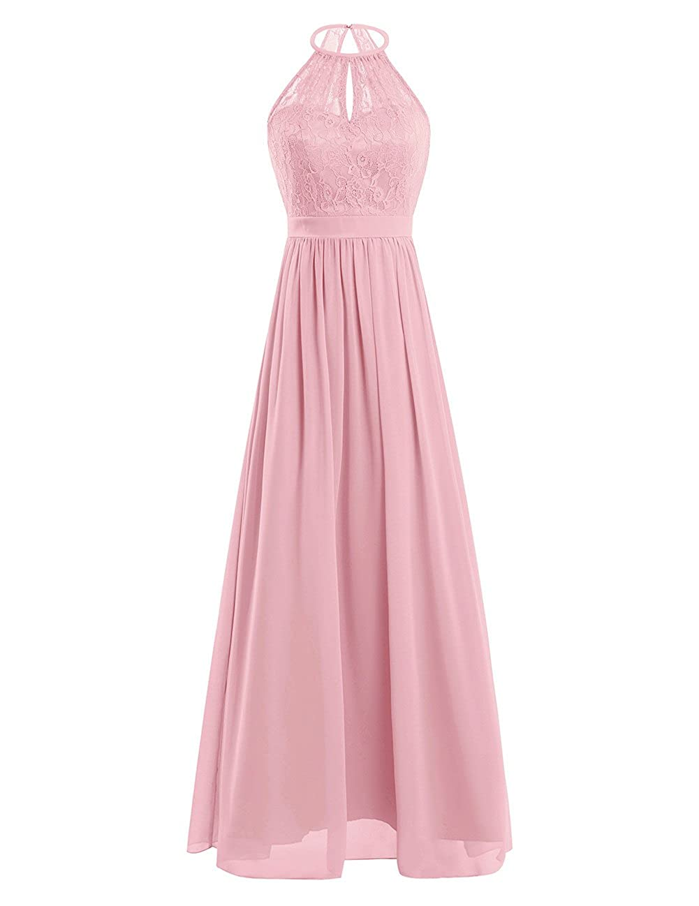 FEESHOW Womens Cut Out Back Halter Sleeveless Maxi Dress Chiffon Formal Evening Dresses at Amazon Womens Clothing store: