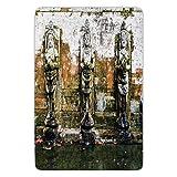 Bathroom Bath Rug Kitchen Floor Mat Carpet,Balinese Decor,Fountain in Ancient Temple in Bali Asia Tropics Landmark Travel Destinations Photo,Green White,Flannel Microfiber Non-slip Soft Absorbent