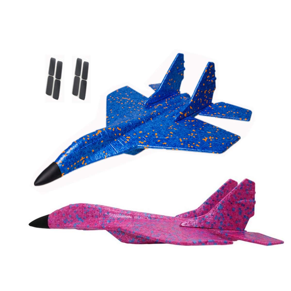 JUNBESTN Foam Airplane for Kids, 17.5'' Glider Plane, Hand Throw Flying Glider Toy for for Outdoor Sports Garden Yard Playing, Best Gift for Boys Girls (2Pack)