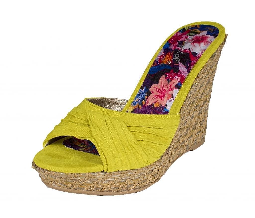 Lena-388! By Qupid Cute and Sexy Pleated Detail Basket Weave Platform Wedge Slip-on Sandal in Lemon Faux Suede B00CNDNWTI 9 B(M) US