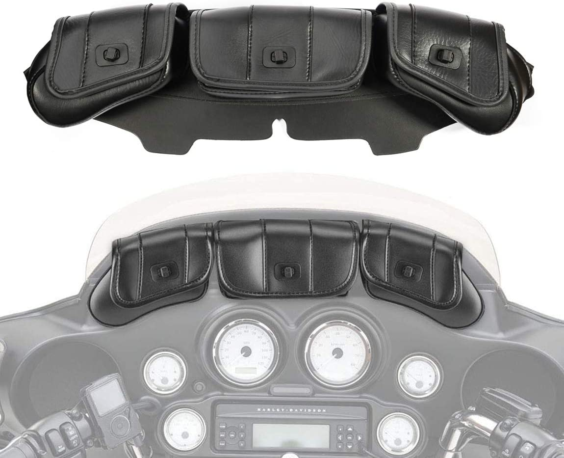 Lalaparts Three Pocket Windshield Bag Batwing Fairing Pouch Compatible for Harley Davidson Touring Electra Glide Street Glide 1996-2013