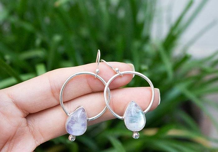 6d07668a9190b Amazon.com: Moonstone Hoops, Moonstone Gemstone Sterling Silver Hoop ...