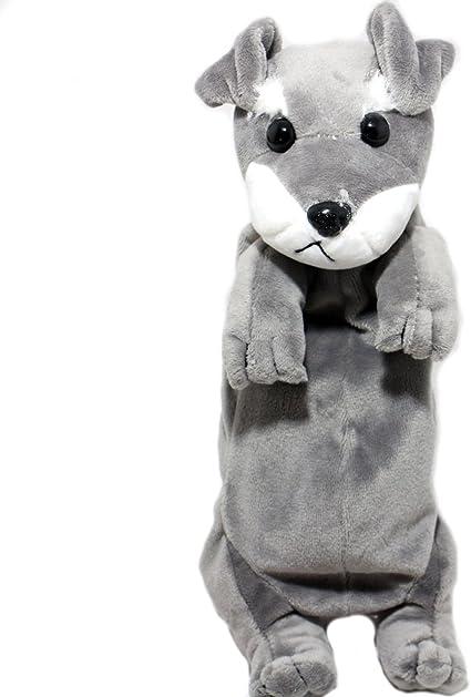 Estuche de peluche con forma de animal para niños y niñas, color Schnauzer: Amazon.es: Oficina y papelería