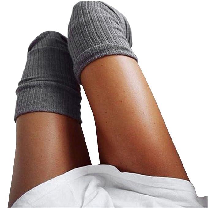 Logobeing Calcetines de Mujer Sobre La Rodilla Invierno Medias Calcetines de Algodon Largo Cálido Chicas Señoras