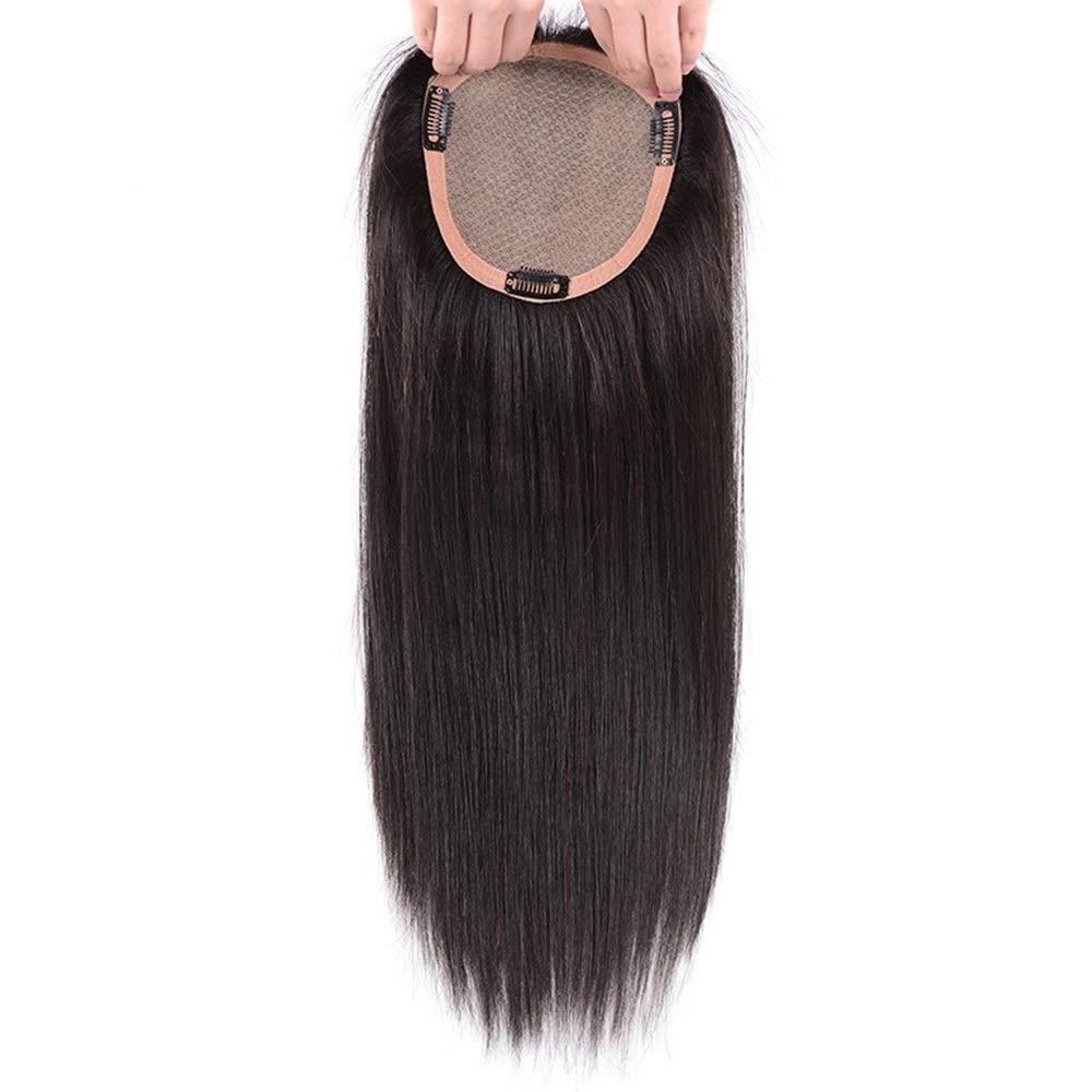 BOBIDYEE 女性の完全な手織り針本物の髪 - 白髪目に見えないかつらを覆っている長いストレートヘアートップ詰め替え用ロールかつらロールプレイングかつら (色 : [15x16] 35cm natural black) B07SF64KDR [15x16] 35cm natural black