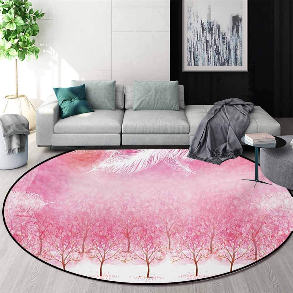 Amazon Com Rugsmat Pink Round Area Rug Carpet Hazy Japanese