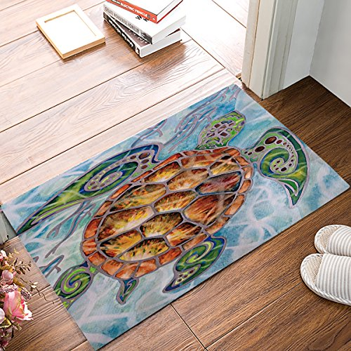 Entrance Custom Doormat Watercolor Brick Sea Turtle Painting Machine Washable Rug Non Slip Mats Bathroom Kitchen Decor Area Rug 18