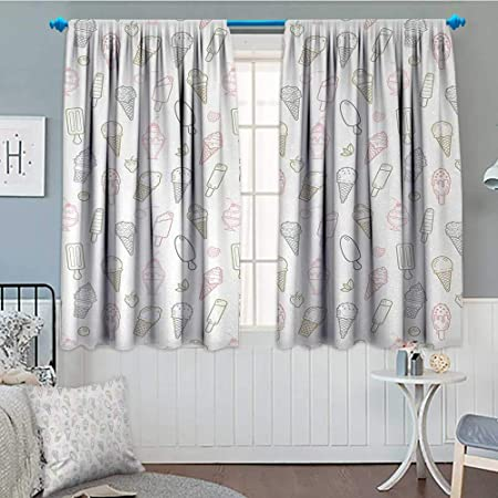 Anniutwo Ice Cream Window Curtain Fabric Different Types Ice Cream Pastel Color Kids Design Pattern Retro Outlines Drapes Living Room 55 W X 72 L Multicolor Amazon Co Uk Kitchen Home
