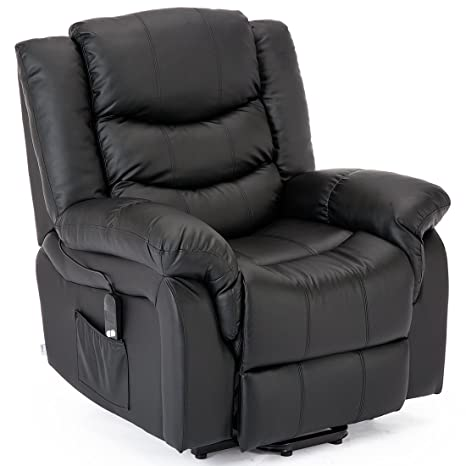Remarkable More4Homes Seattle Electric Rise Recliner Bonded Leather Armchair Sofa Home Lounge Riser Chair Black Pdpeps Interior Chair Design Pdpepsorg