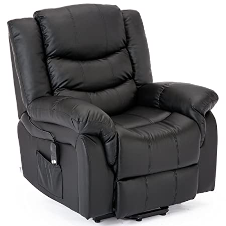Good More4Homes SEATTLE ELECTRIC RISE RECLINER BONDED LEATHER ARMCHAIR SOFA HOME  LOUNGE RISER CHAIR (Black)