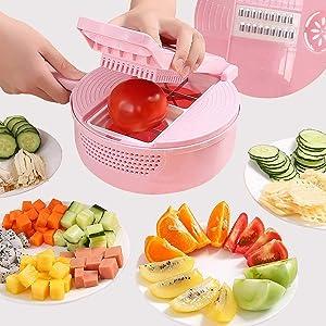 OPYWQS 10 in 1 Mandoline Adjustable Vegetable Julienne Grater Food Dicer Slicer Chopper Cutter,Egg Separator & Drain Basket,for Kitchen,Pink
