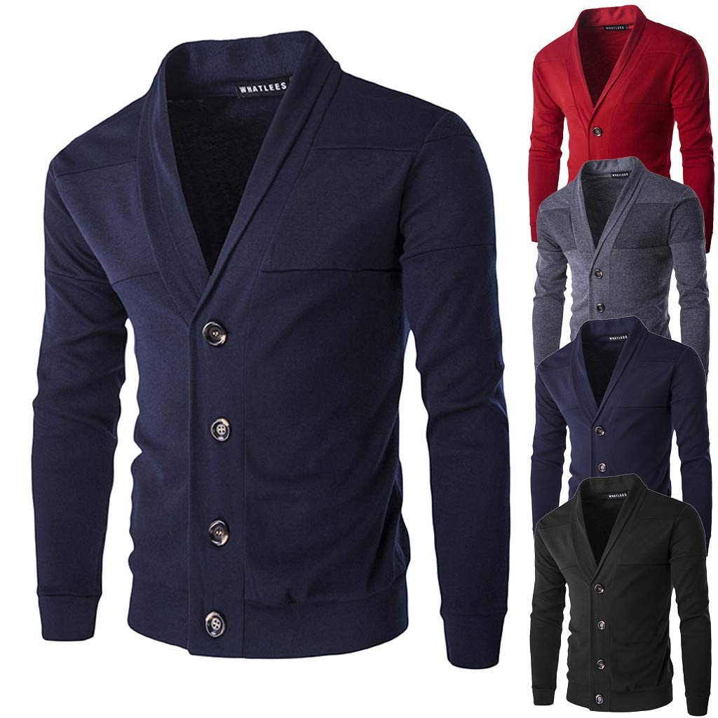 iFOMO Long Sleeve Solid Color V-Neck Button Knit Cardigan Sweaters for Men
