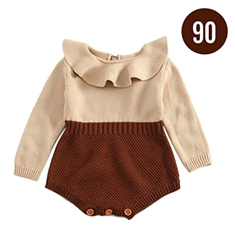 Draulic - Pelele de punto para bebé, con volantes, manga larga, para niños
