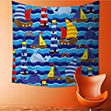 Muyindo Wall Tapestry Seamless Tileable Nautical Themed Vector Background or Wallpaper Room Dorm Accessories Wall Hanging Tapestry/35.4W x 35.4L INCH