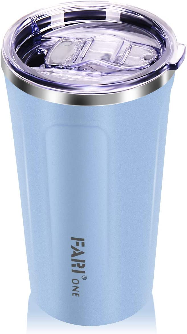 FARI 15oz Tumblers Stainless Steel Mugs with Lid Double Wall Vacuum Insulated Travel Coffee Cups (Blue, 1)