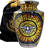 Holy Spirit Dove - Stained Glass Image - for Burial, Funeral, Niche or Columbarium Adult Cremation Urn for Human Ashes - Adult, Large